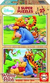Dřevěné puzzle Medvídek Pú, 2x25 dílků, dva motivy