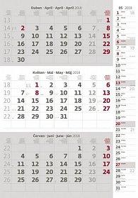 Kalendář nástěnný 2018 - 3měsíční/šedý s poznámkami a jmenným kalendáriem