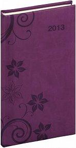 Diář 2013 - Tucson-Vivella - Kapesní, tmavě fialová, květiny, 9 x 15,5 cm