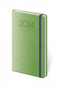 Diář 2014 - kapesní týdenní NEW PRAGA s gumičkou - zelená