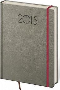 Diář 2015 - NEW PRAGA týdenní A5 s gumičkou - šedá