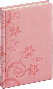 Diář 2013 - Tucson-Vivella - Denní A5, růžová, květiny, 15 x 21 cm