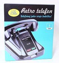 Černý retro telefon na mobil