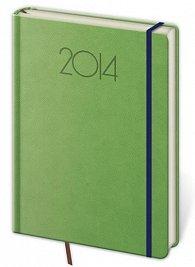 Diář 2014 - týdenní A5 NEW PRAGA s gumickou - zelená