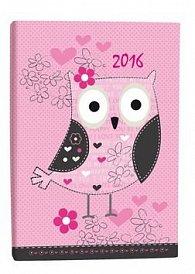 Diář A7 Owl týdenní 2016