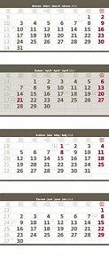 Kalendář 2014 - Čtyřměsíční skládaný - šedý - nástěnný