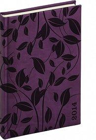 Diář 2014 - Tucson-Vivella speciál - Denní A5, tmavě fialová, lístky (ČES, SLO, ANG, NĚM)
