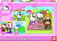Puzzle Hello Kitty, čtyři motivy, 12,16,20,25 dílků