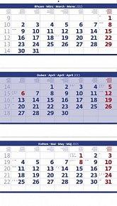 Kalendář nástěnný 2015 - Tříměsíční skládaný modrý