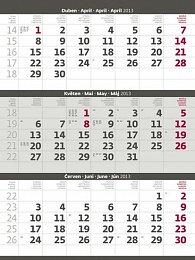 Kalendář nástěnný 2013 - Tříměsíční šedý
