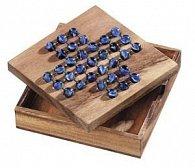 Solitaire dřevěný + skleněné kuličky