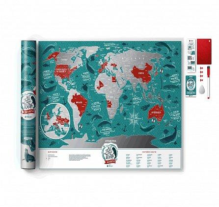 """Náhled Stírací mapa světa """"Travel Map Marine World"""""""