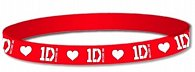 Náramek silikonový - One Direction/červený s bílým 1D