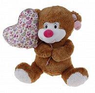 Sedící medvídek s balónkem v designu srdíčka - 45 cm