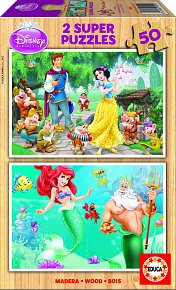 Puzzle dřevěné Disney Sněhurka a Malá mořská víla 2v1 50 díl