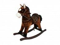 Houpací kůň se sedlem - tmavěhnědý