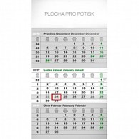Kalendář nástěnný 2017 - Eco šedý/3měsíční s českými jmény