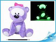 Medvídek plyšový 30cm svítící ve tmě fialový 0m+ v sáčku