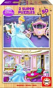 Puzzle dřevěné Disney Princezny 2v1 50 dílků