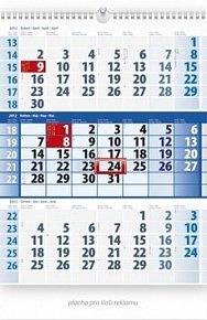 Kalendář 2012 - Tříměsíční modrý, nástěnný