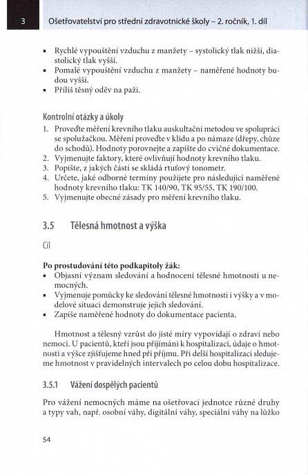 Náhled Ošetřovatelství pro střední zdravotnické školy 2. ročník - 1. díl