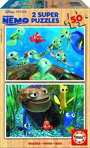 Puzzle dřevěné Hledá se Nemo 2v1 50 dílků