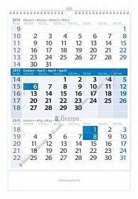 Kalendář 2015 - Tříměsíční modrý nástěnn