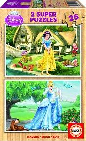 Puzzle dřevěné Disney Sněhurka a Popelka 2v1 25 dílků