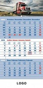 Kalendář 2014 - Truck šedý 3měsíční s českými jmény - nástěnný s prodlouženými zády