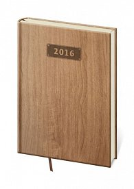 Diář 2016 - Wood kapesní týdenní - světle hnědá