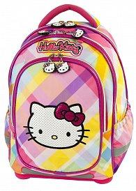 Batoh Hello Kitty růžovo/žlutý s kostkami super lehký