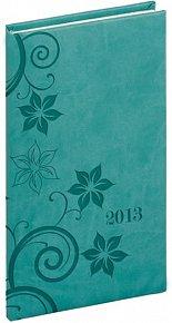 Diář 2013 - Tucson-Vivella - Kapesní, tyrkysová, květiny, 9 x 15,5 cm