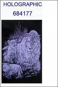 Škrabací obrázek A5 lev a lvíčata HOLOGRAPHIC