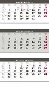 Kalendář nástěnný 2013 - Tříměsíční šedý skládaný