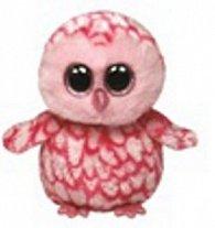 Plyš očka střední růžová sova