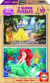 Puzzle dřevěné Disney Sněhurka a Malá mořská víla 2v1 16 díl