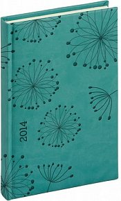 Diář 2014 - Tucson-Vivella speciál - Denní A5, tyrkysová, květiny (ČES, SLO, ANG, NĚM)