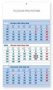 Standard modrý 3měsíční - nástěnný kalendář 2016