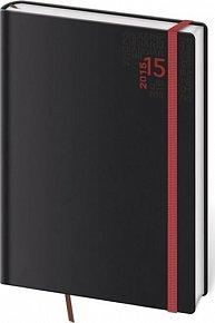 Diář 2015 - DYNAMIC kapesní týdenní - černá s červenou gumičkou