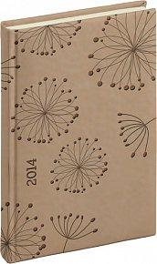 Diář 2014 - Tucson-Vivella speciál - Denní A5, krémová, květiny (ČES, SLO, ANG, NĚM)