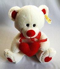 Medvídek se srdcem bílý 20 cm