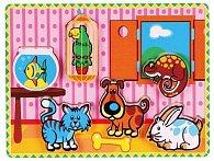 Vkládačka dřevěná pokojíček + 6 zvířátek