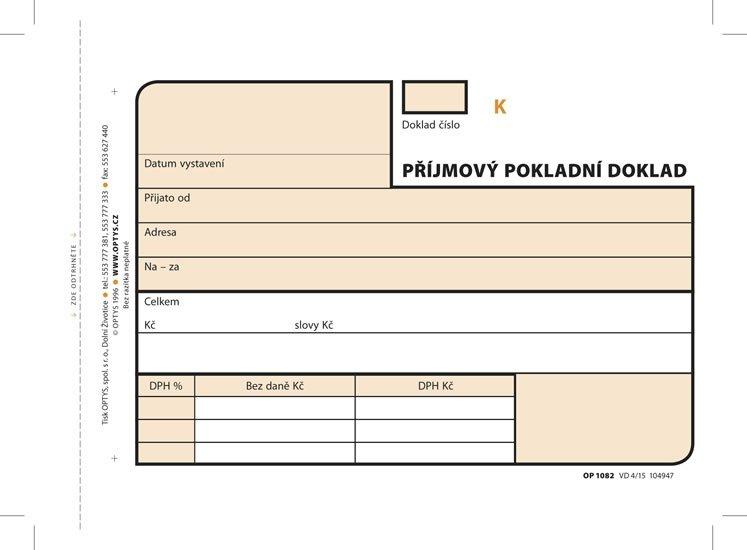 Příjmový doklad, A6, 3 × 25 listů, číslovaný, NCR
